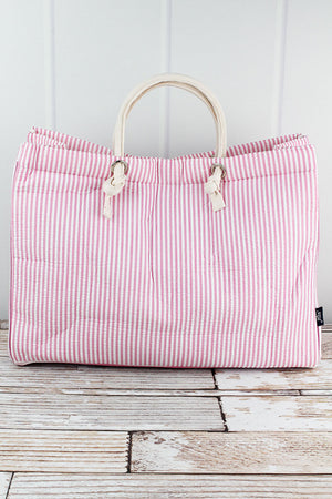 Large Pink Striped Seersucker Shoulder Tote