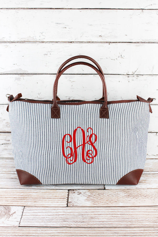 Navy Striped Seersucker Large Tote Bag
