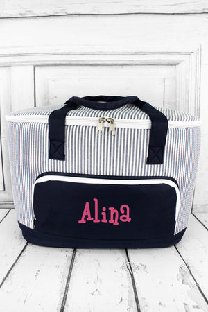 Navy Striped Seersucker Cooler Tote with Lid