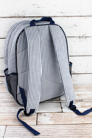 Navy Seersucker Striped Oversized Backpack
