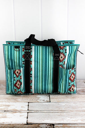 Adobe Sky with Black Trim Large Organizer Tote
