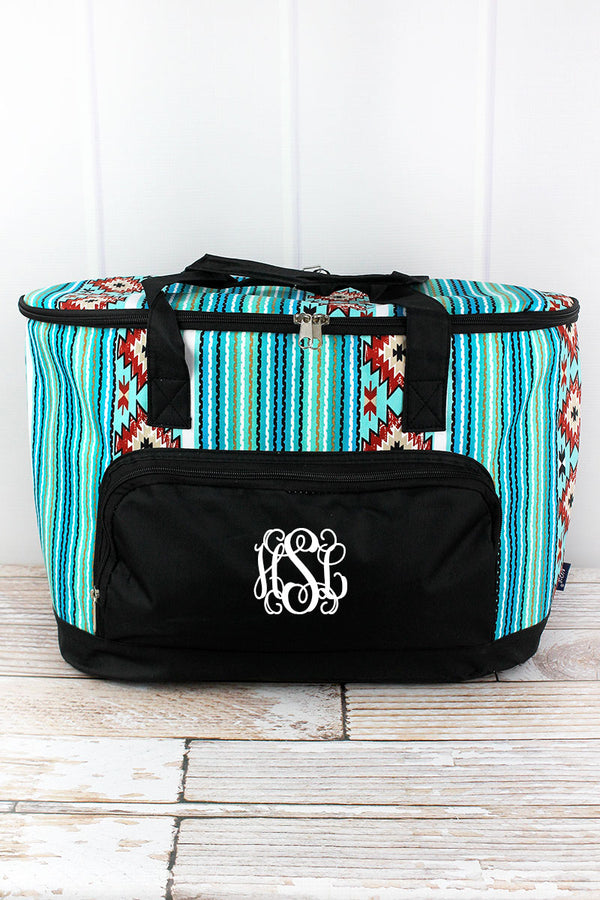 Adobe Sky and Black Cooler Tote with Lid
