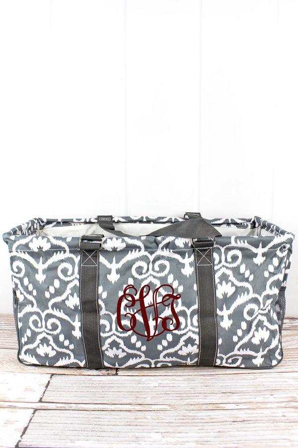 Dizzy Damask Collapsible Haul-It-All Basket with Mesh Pockets
