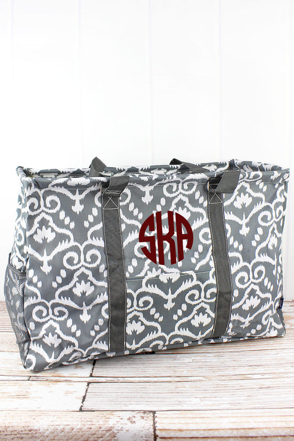 Dizzy Damask Collapsible Double Haul-It-All Basket with Mesh Pockets and Lid