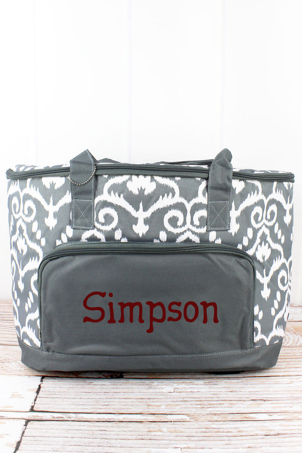 Dizzy Damask and Gray Cooler Tote with Lid
