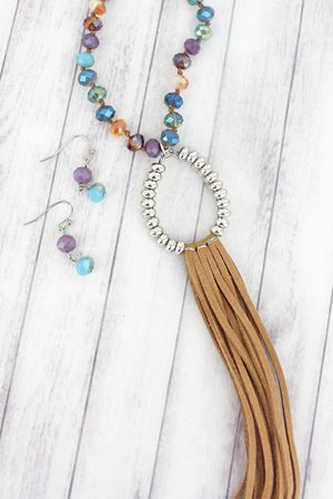 Brown and Silvertone Teardrop Tassel Multi-Color Beaded Necklace and Earring Set