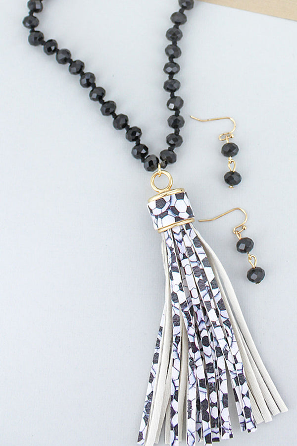 Soccer Tassel Black Beaded Necklace and Earring Set