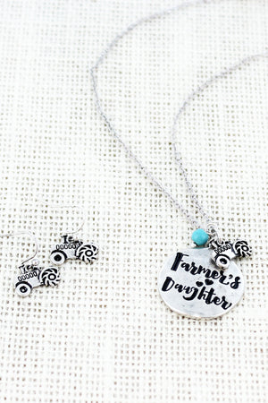 Burnished Silvertone 'Farmer's Daughter' Necklace and Earring Set