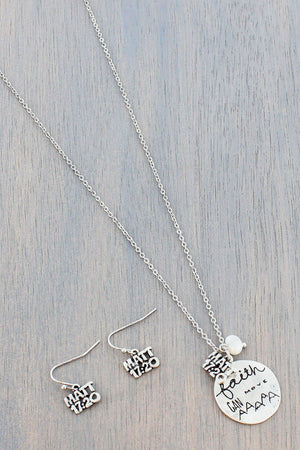 Burnished Silvertone 'Faith Can Move' Necklace and Earring Set #SS0238-SB