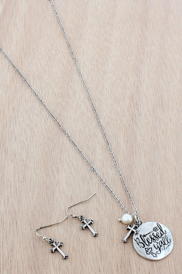 Burnished Silvertone 'Blessed Y'all' Necklace and Earring Set