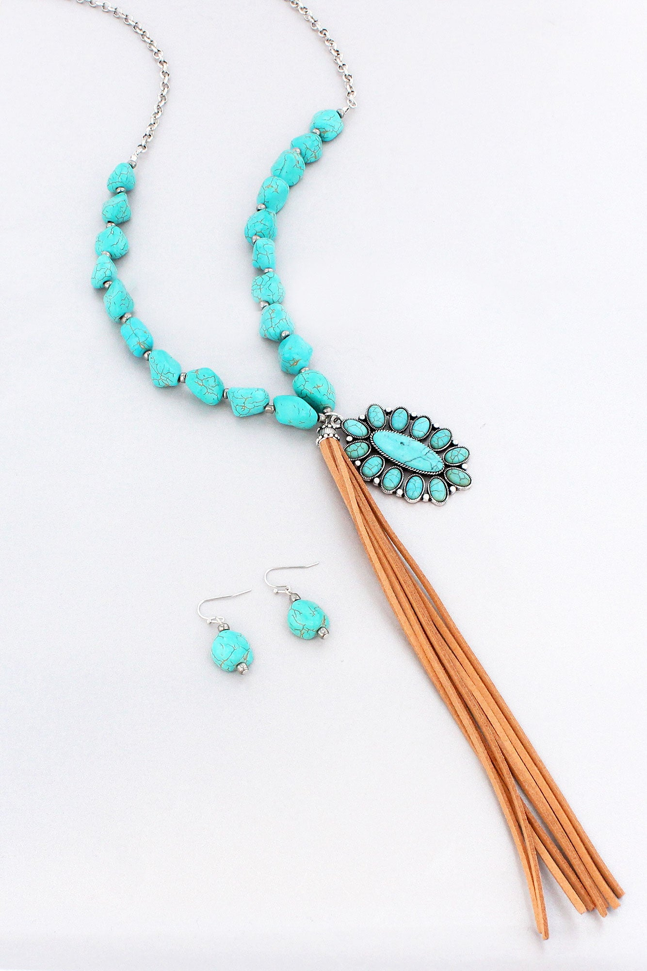Turquoise Beaded Burnished Silvertone Concho Tassel Necklace And Earring Set