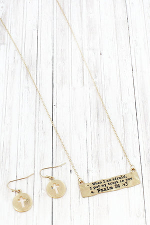 Worn Goldtone Psalm 56:3 Bar Pendant Necklace and Earring Set