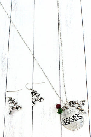 Burnished Silvertone 'Noel' Necklace and Earring Set