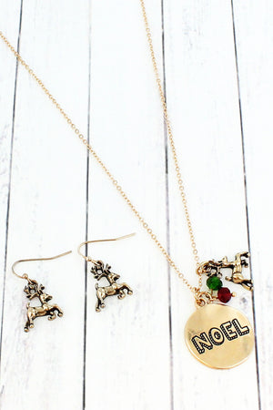 Worn Goldtone 'Noel' Necklace and Earring Set
