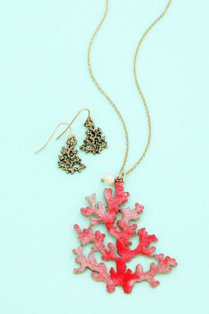 Coral Reef Pendant Goldtone Necklace and Earring Set