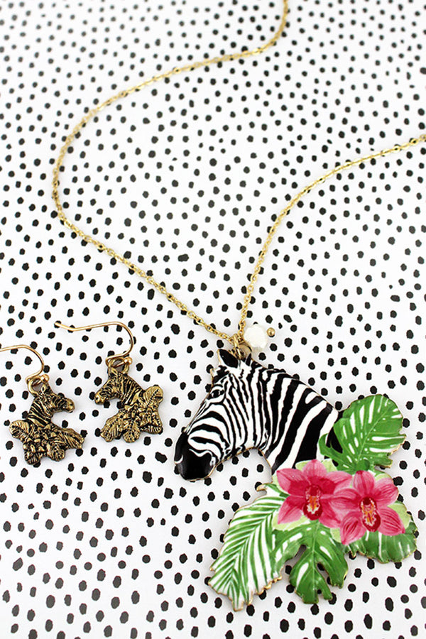 Tropical Zebra Pendant Goldtone Necklace and Earring Set