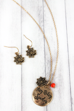 Worn Goldtone 'Itsy Bitsy Spider' Halloween Necklace and Earring Set