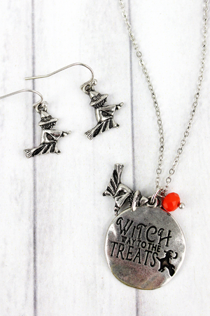 Burnished Silvertone 'Witch Way' Halloween Necklace and Earring Set