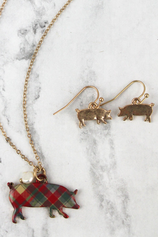 Perfectly Plaid Pig Goldtone Necklace and Earring Set