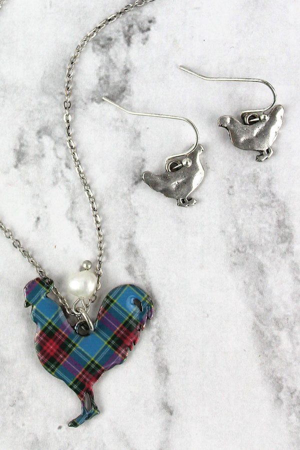 Perfectly Plaid Rooster Silvertone Necklace and Earring Set