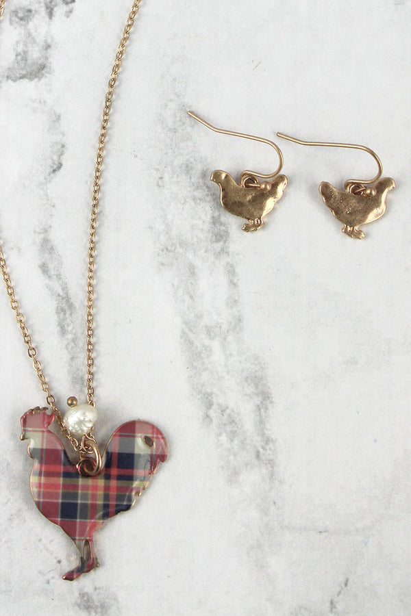 Perfectly Plaid Rooster Goldtone Necklace and Earring Set