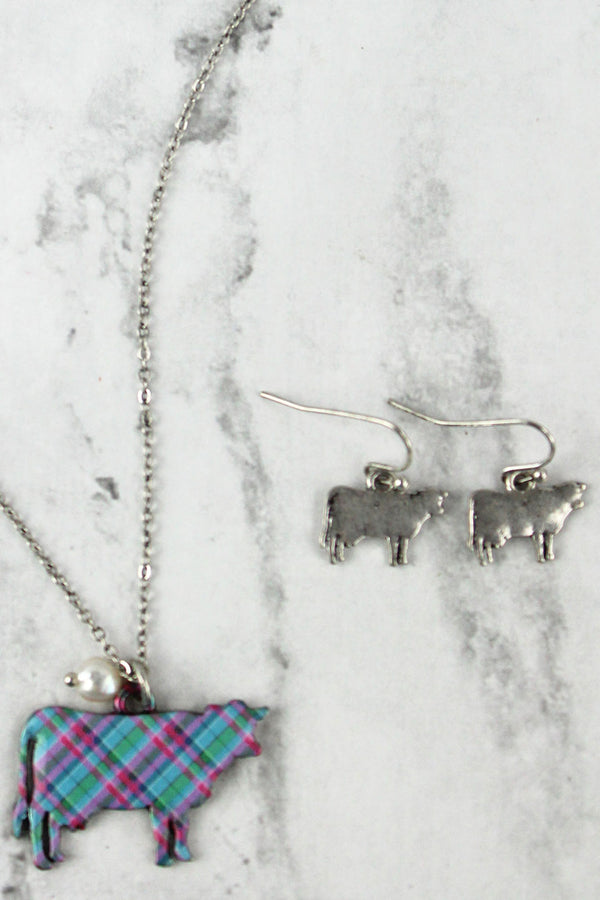 Perfectly Plaid Cow Silvertone Necklace and Earring Set