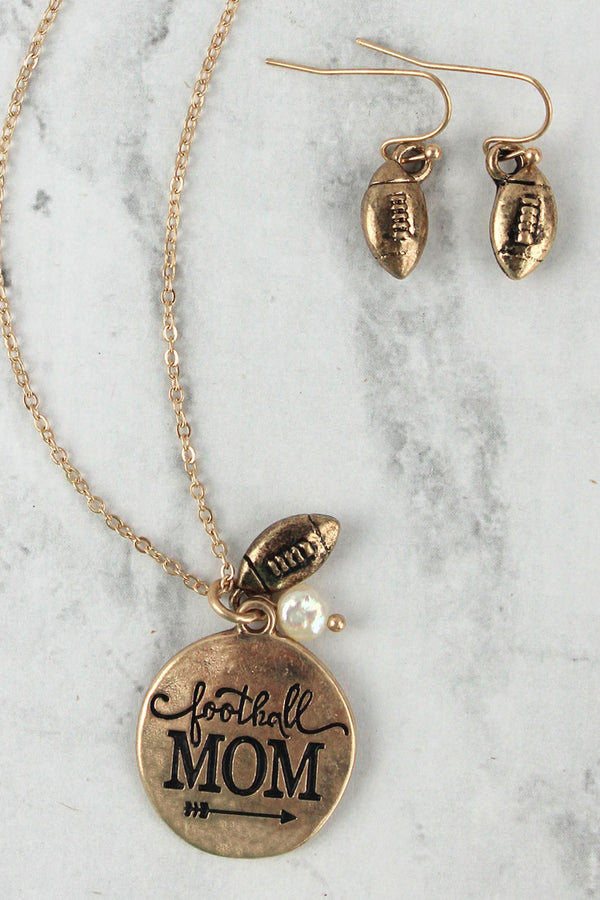 Worn Goldtone 'Football Mom' Necklace and Earring Set