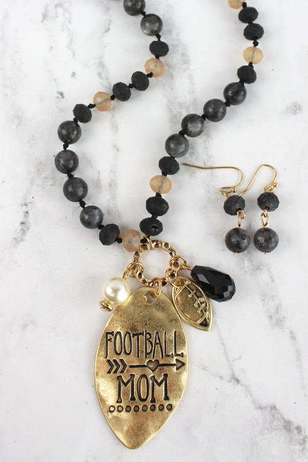 Worn Goldtone 'Football Mom' Black Beaded Necklace and Earring Set