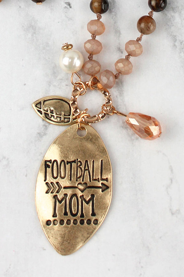 Worn Goldtone 'Football Mom' Natural Beaded Necklace and Earring Set