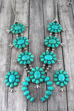 Burnished Silvertone and Turquoise Stone Squash Blossom Necklace and Earring Set