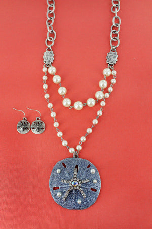 Bejeweled Blue Glitter Sand Dollar Pearl Necklace and Earring Set