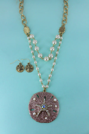 Bejeweled Peach Glitter Sand Dollar Pearl Necklace and Earring Set
