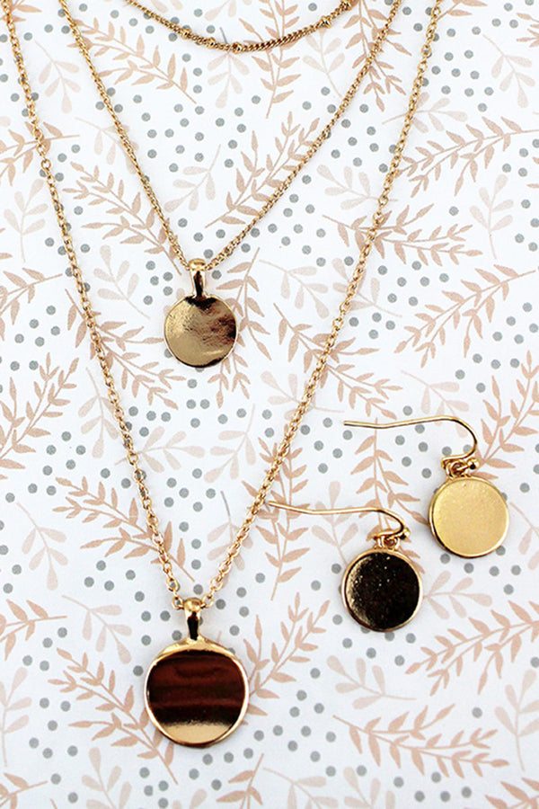 Layered Goldtone Disk Pendant Necklace and Earring Set