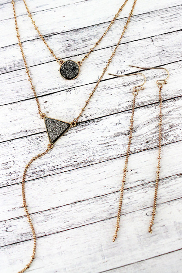 Goldtone and Black Druzy Layered Y Necklace and Earring Set