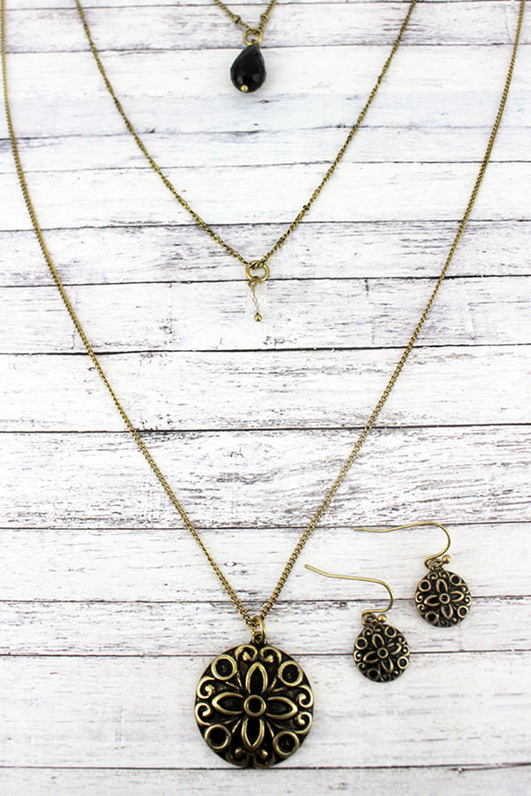 Layered Goldtone Floral Medallion and Teardrop Bead Necklace and Earring Set