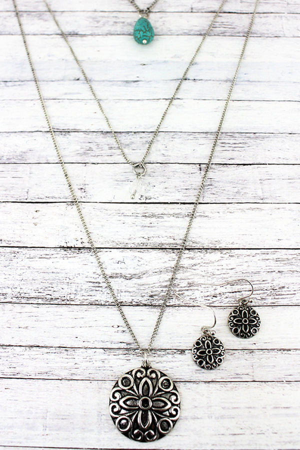 Layered Silvertone Floral Medallion and Teardrop Bead Necklace and Earring Set