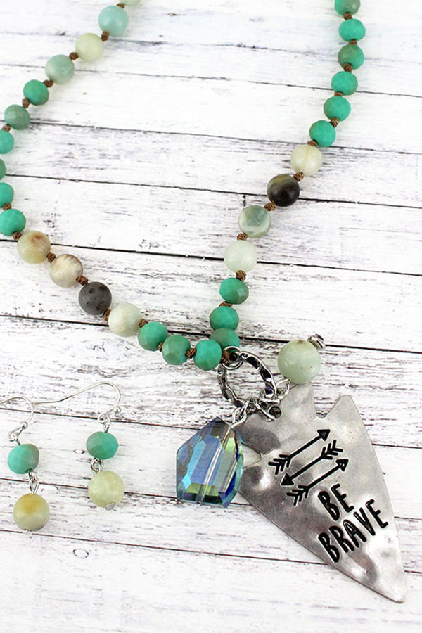 Silvertone 'Be Brave' Turquoise Beaded Necklace and Earring Set