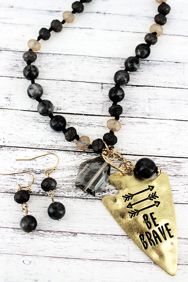 Goldtone 'Be Brave' Black Beaded Necklace and Earring Set