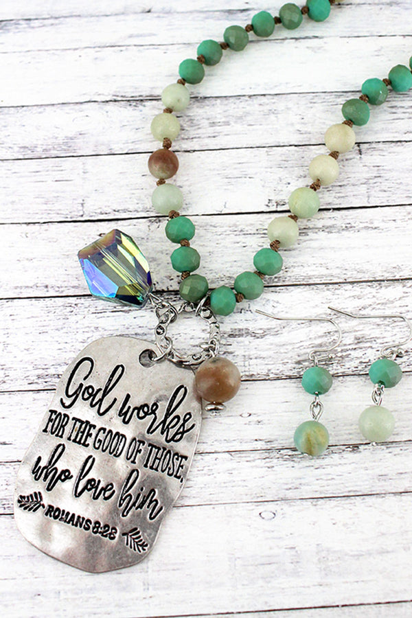 Silvertone 'God Works' Turquoise Beaded Necklace and Earring Set