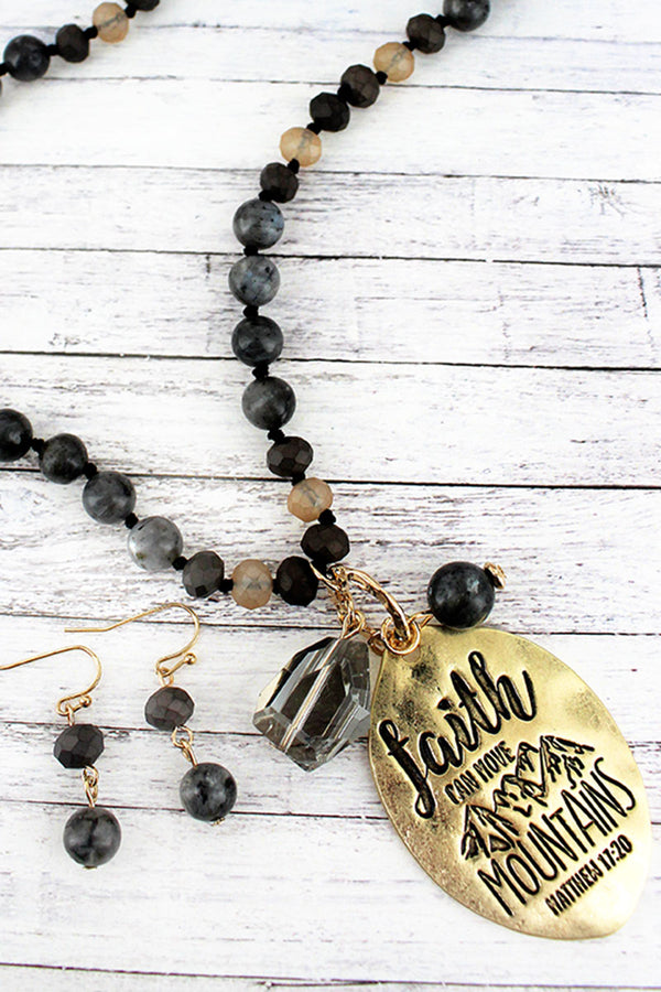 Goldtone 'Faith Can Move Mountains' Black Beaded Necklace and Earring Set