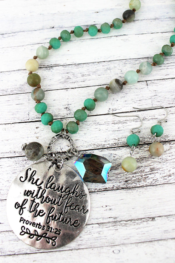 Silvertone 'She Laughs' Turquoise Beaded Necklace and Earring Set