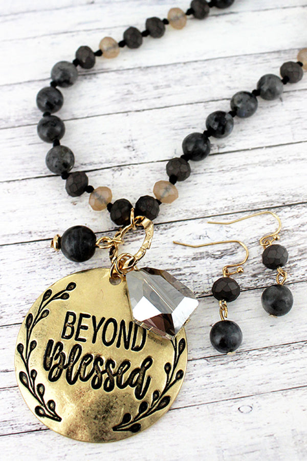 Goldtone 'Beyond Blessed' Black Beaded Necklace and Earring Set