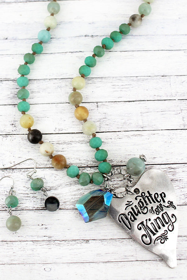 Silvertone 'Daughter Of The King' Turquoise Beaded Necklace and Earring Set