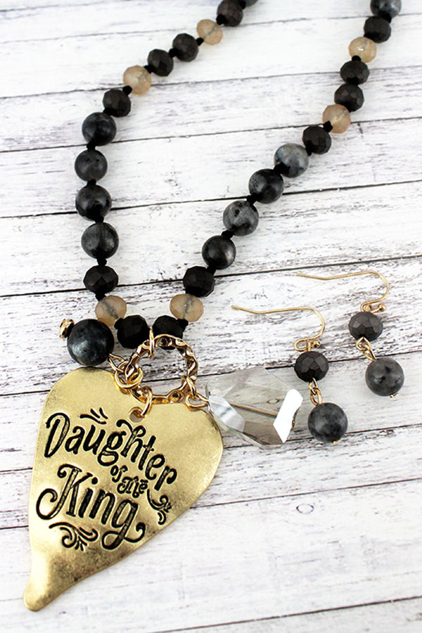 Goldtone 'Daughter Of The King' Black Beaded Necklace and Earring Set