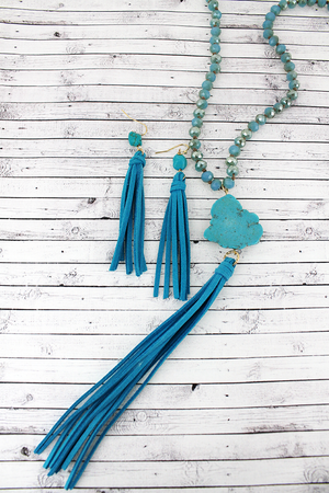 Blue Beaded Turquoise Stone & Tassel Pendant Necklace and Earring Set