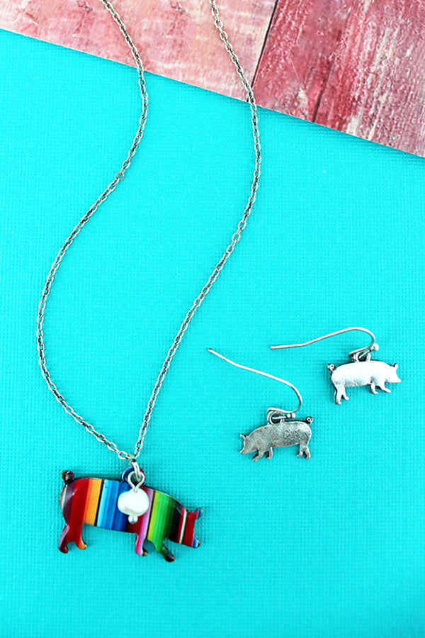 Serape Pig Silvertone Necklace and Earring Set