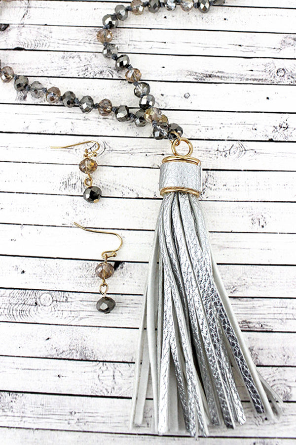 Light Silver Faux Leather Tassel Glass Beaded Necklace and Earring Set