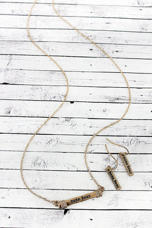 Worn Goldtone 'Mama Bear' Wire-Wrapped Bar Necklace and Earring Set