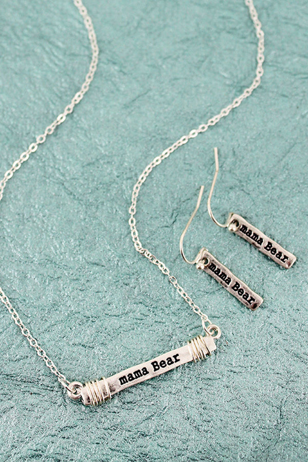 Worn Silvertone 'Mama Bear' Wire-Wrapped Bar Necklace and Earring Set