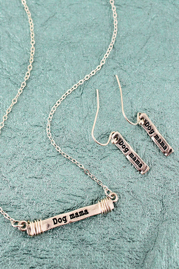 Worn Silvertone 'Dog Mama' Wire-Wrapped Bar Necklace and Earring Set